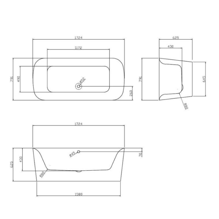 Picture of Flow Free Standing Oval Bath With Surround 1700 x 800