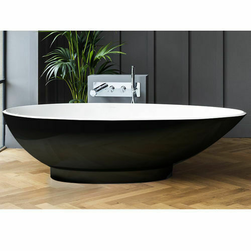 Picture of Napoli F/Stand Oval Bath Black W/ Plinth 1900 x 855
