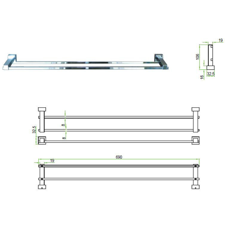 Picture of Malta Double Towel Rail 700 Mm